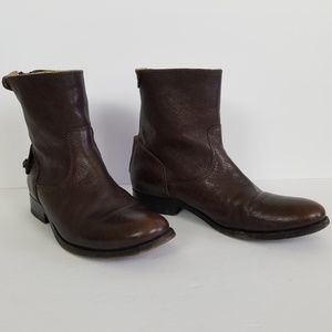 Frye Melissa Button Short Leather Boots 6.5